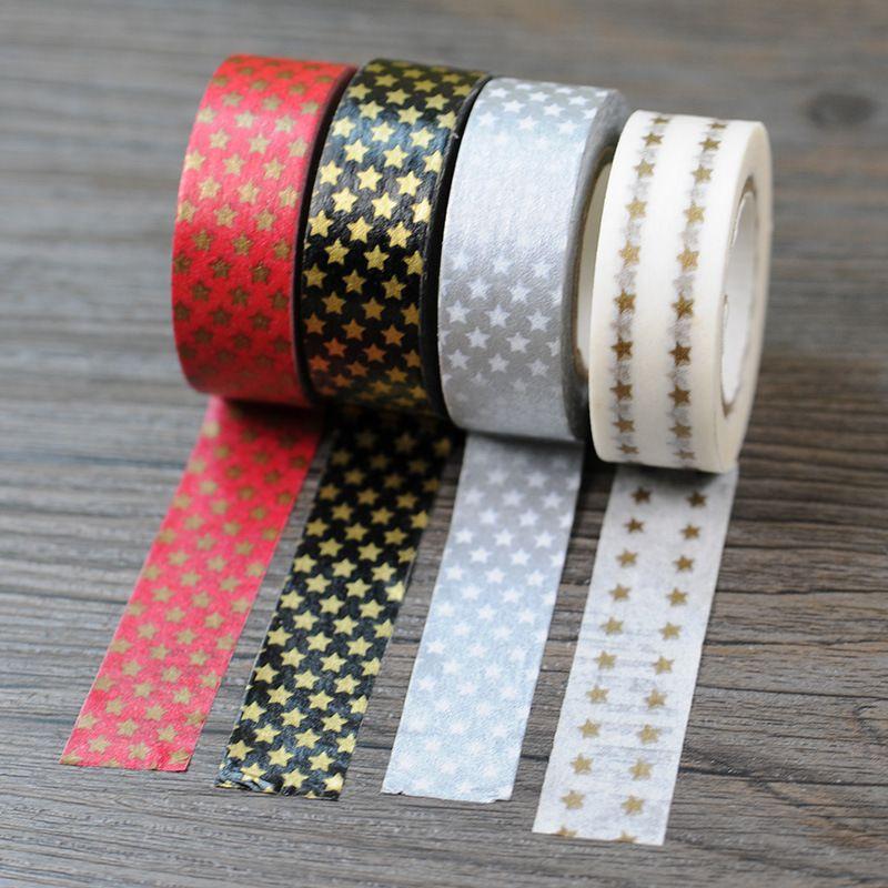 Scotch Decorative Masking Tape 1Pcs 4 Colors Masking Tape Star Washi Adhesive Stationery