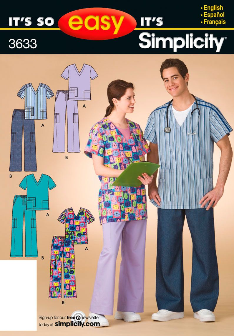 Simplicity Pattern 3633 Bin 40 It S So Easy Scrubs Misses Men