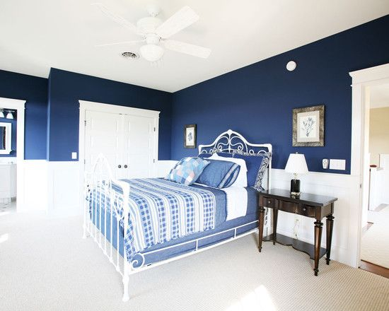 white and dark blue bedroom - thinking about this for the main