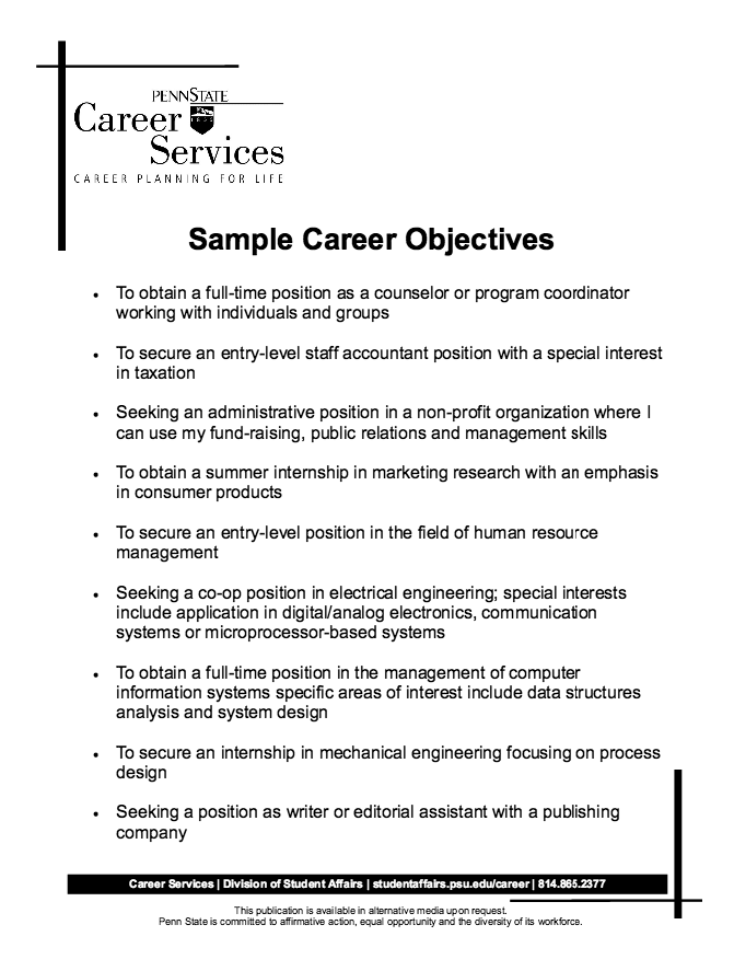Sample Career Objectives Resume Resume Objective Examples