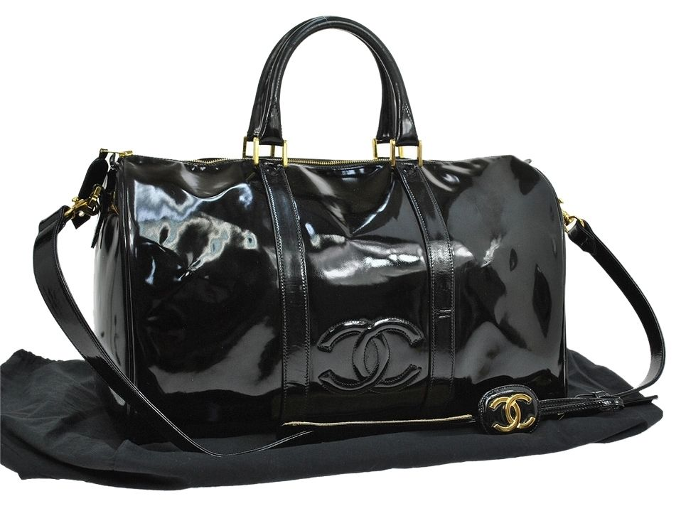 7a4a2455f1dd3f Chanel Jumbo Xl Patent Leather Black Travel Bag. | Welcome to my ...