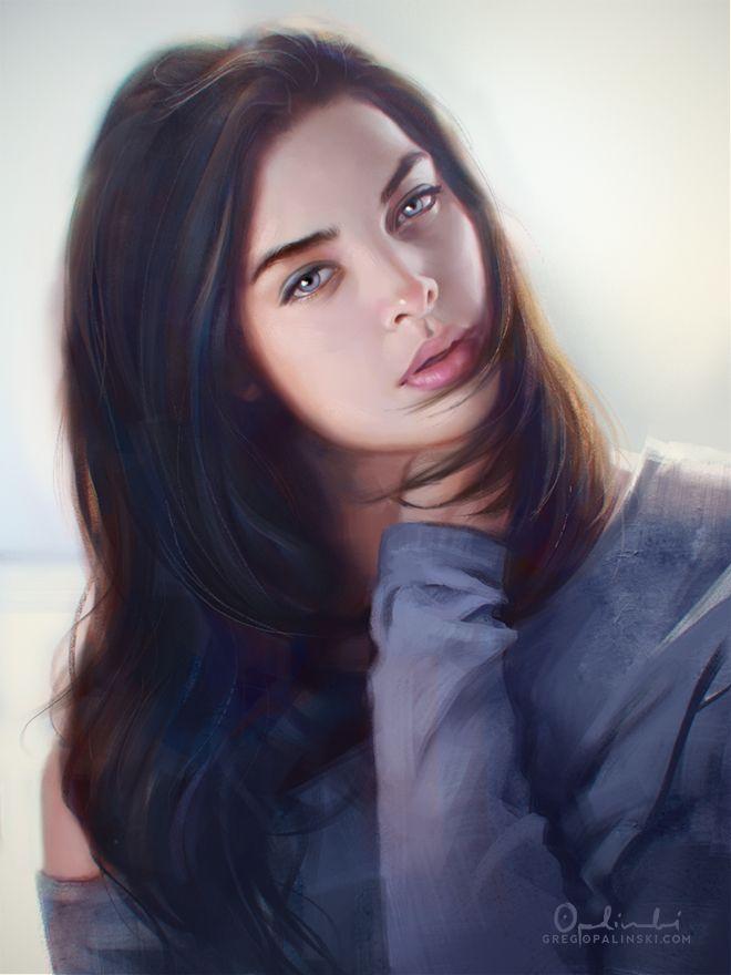 Blue Eyes By Greg Opalinski On Deviantart Portrait Digital Painting Portrait Art