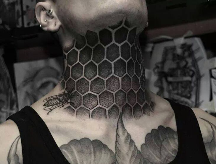 Hexagon Tattoo Google Search Honeycomb Tattoo Neck Tattoo For Guys Front Neck Tattoo