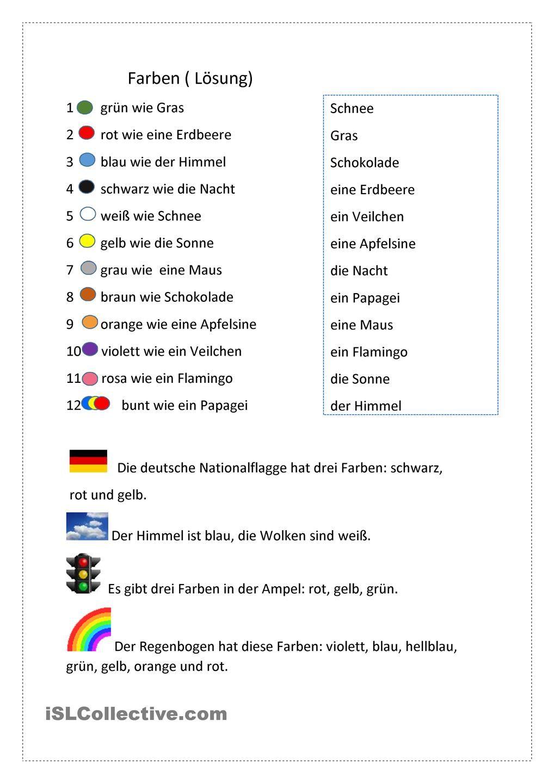 Farben   Farben lernen, Text auf deutsch, Unterrichtsmaterial ...