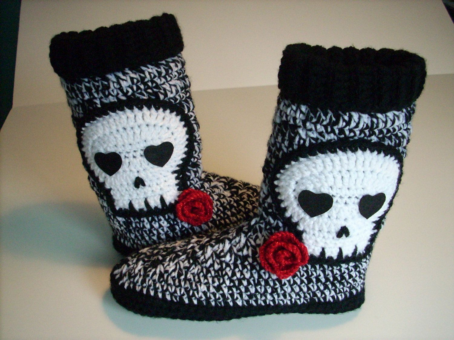Skull Slipper Boots Women teen boot slippers crochet black and white ...