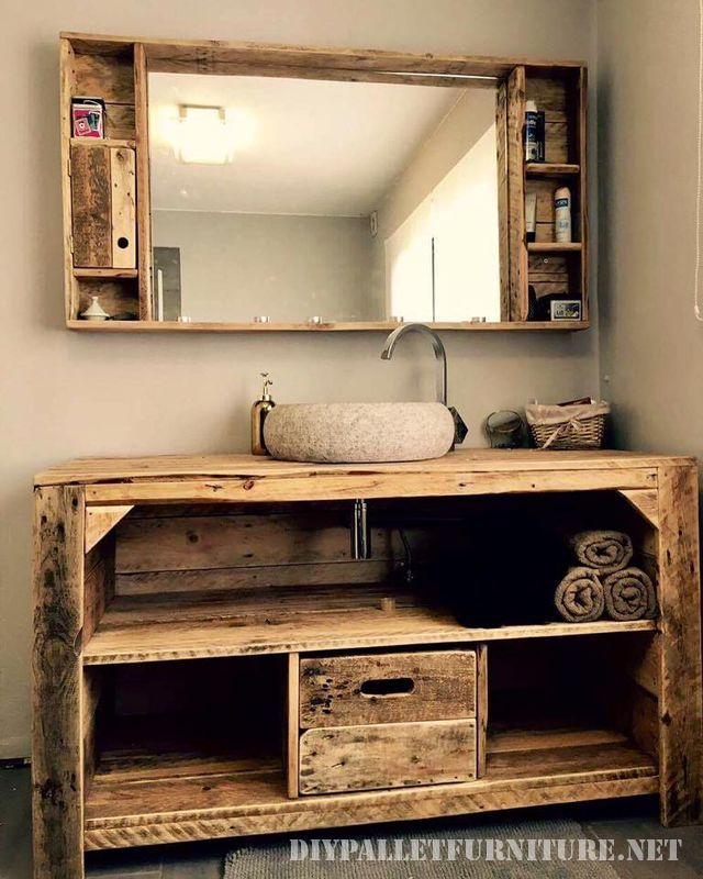 mobiletto del bagno con i pallet 1 arredamenti pinterest armoire de toilette salle de. Black Bedroom Furniture Sets. Home Design Ideas