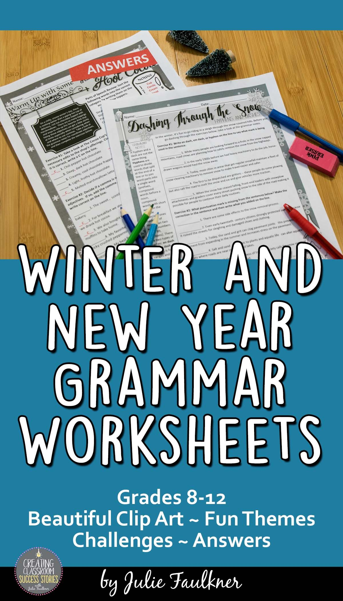 Worksheets Grammar Worksheets Middle School new year and winter grammar worksheets no prep middle high for school