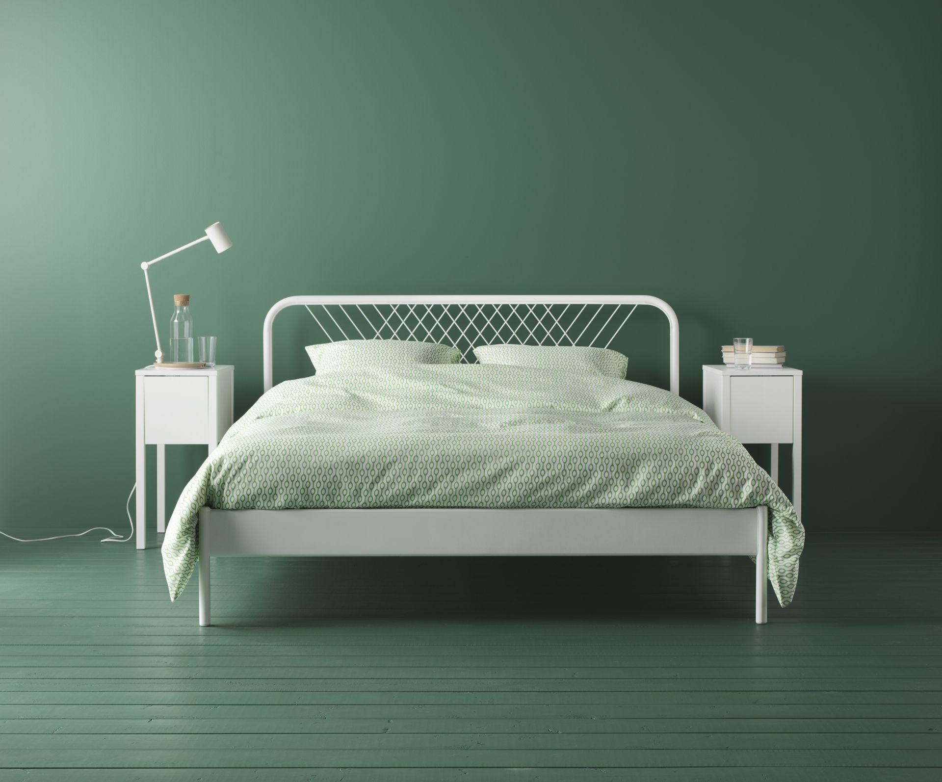 Slaapkamer Groen Wit : Nesttun bedframe wit luröy slaapkamers muebles