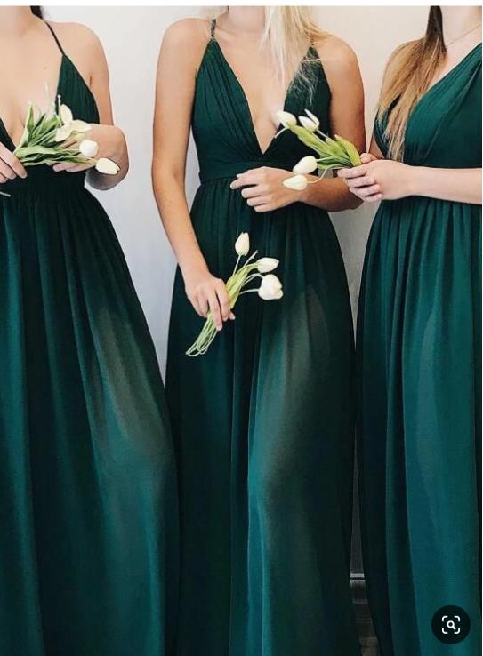 Plunging Neck ALine Dark Green Bridesmaid Dress Prom Dresses Plunging Neck ALine Dark Green Bridesmaid Dress Prom Dresses