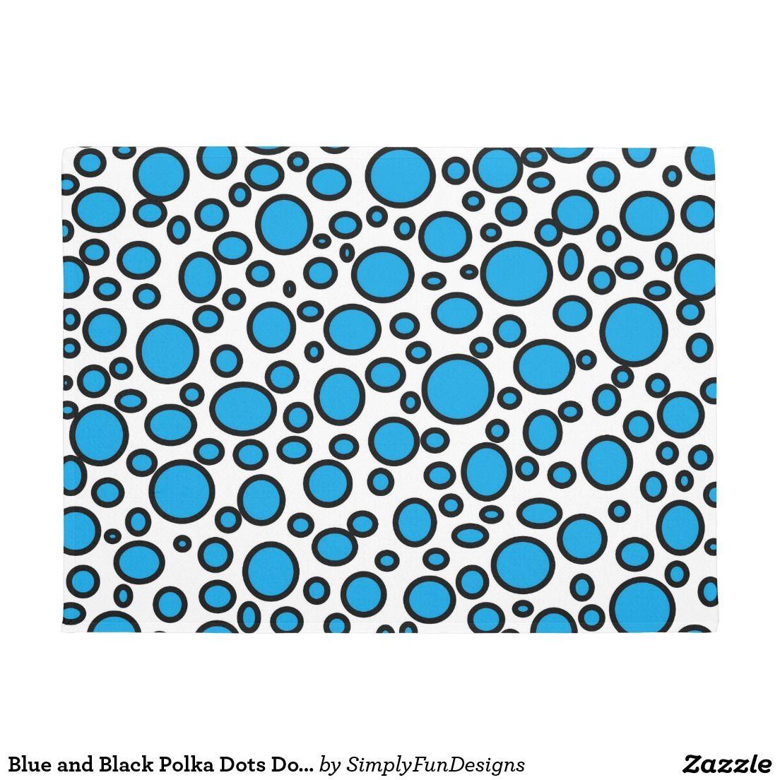 Blue and Black Polka Dots Doormat