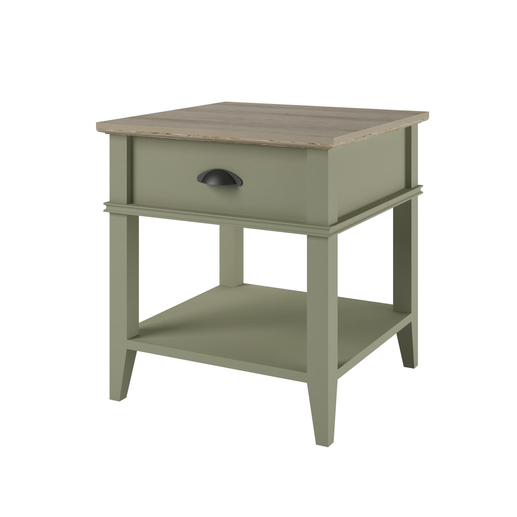 Altra Country Style Square End Table With Drawer Natural