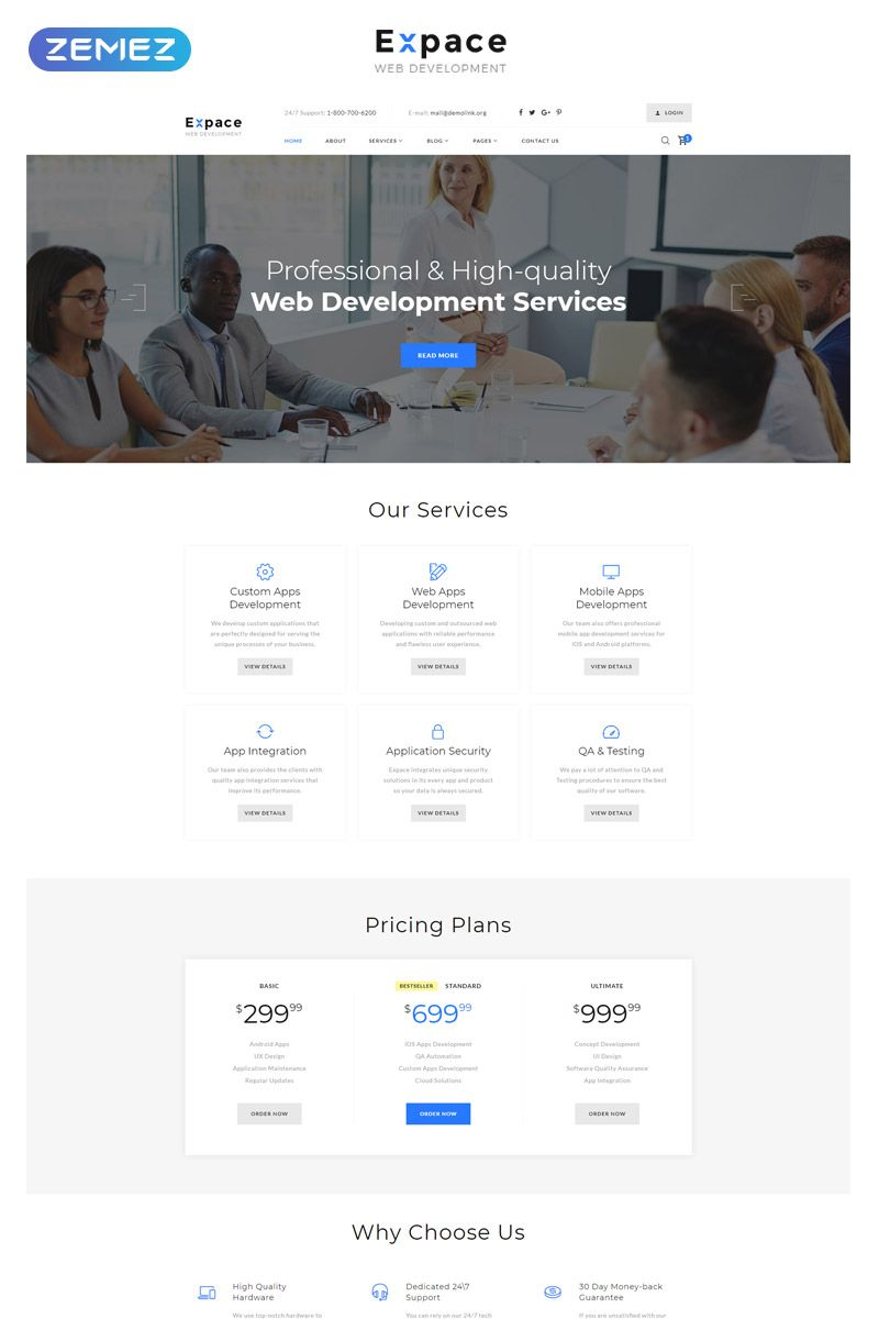 Expace Web Development Multipage Clean Html Template 51408 It Is Impossible To Imagine Any Business Without A We Web Development Templates Development