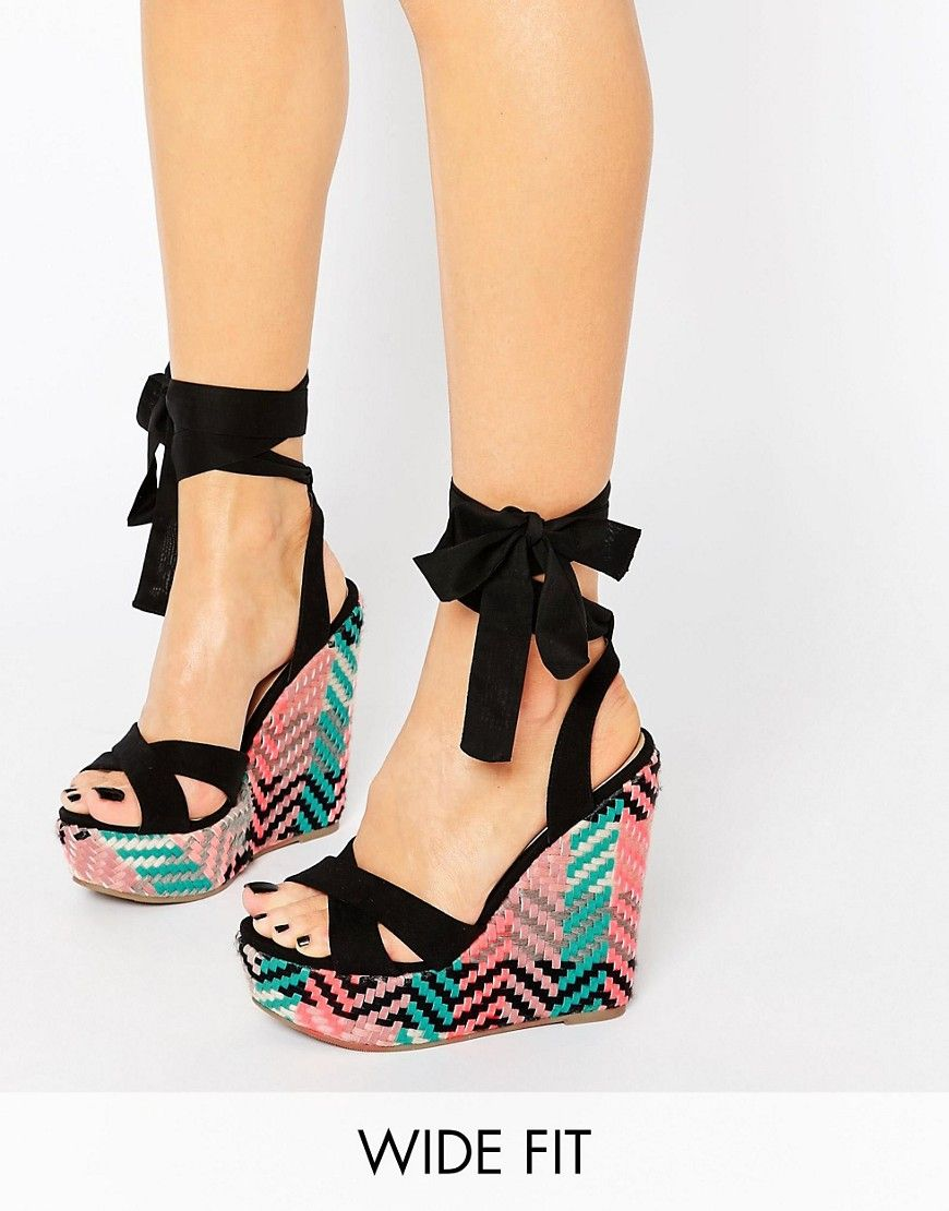 f68a3a61ffb6e Image 1 of ASOS HEARTFELT Wide Fit Wedges   put your foot in it ...