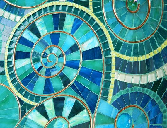Mosaic Art -Turquoise Mosaic Bowl, Dish Accented with Copper, Spiral ...