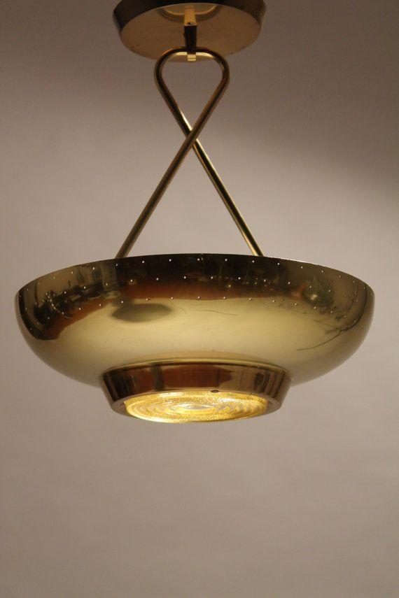Lightolier Pierced Chandelier Brass Plated With Fresnel Lens 1950 Era