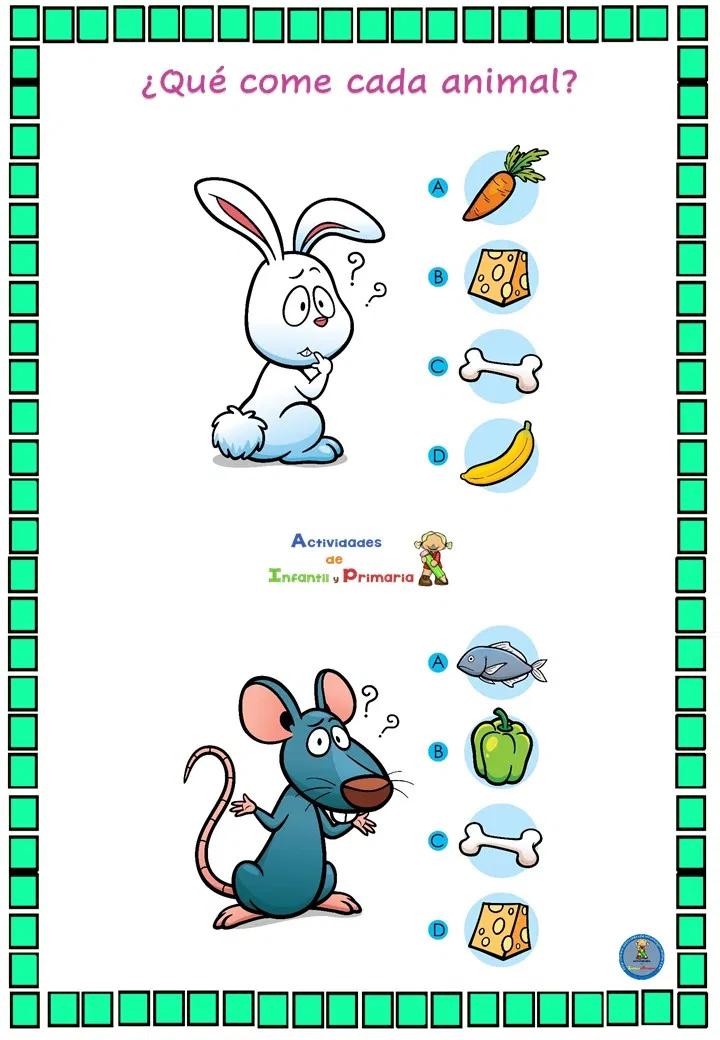 Divertido Juego De Lógica Qué Come Cada Animal Juegos De Logica Evaluaciones Para Preescolar Actividades