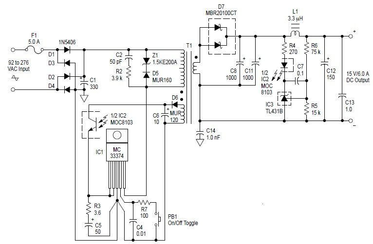 circuito de fonte chaveada simples 15v x 6a