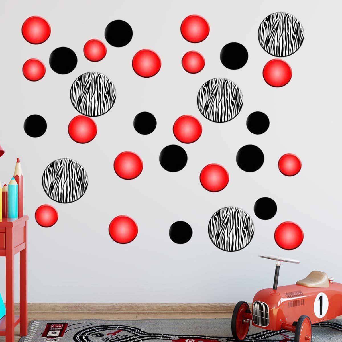 Vwaq Zebra Stripe Polka Dots And Peel And Stick Red Circles Wall