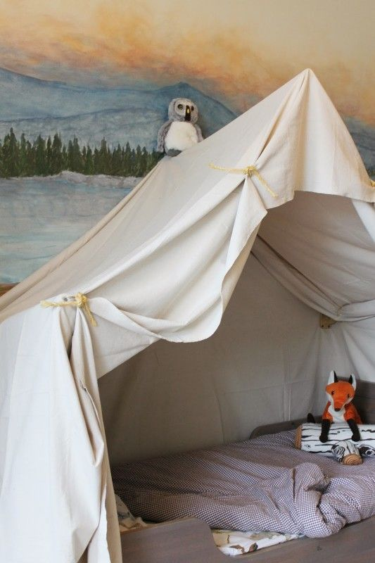 Build A Kids Bed Canopy That Looks Like An Indoor Camping Tent