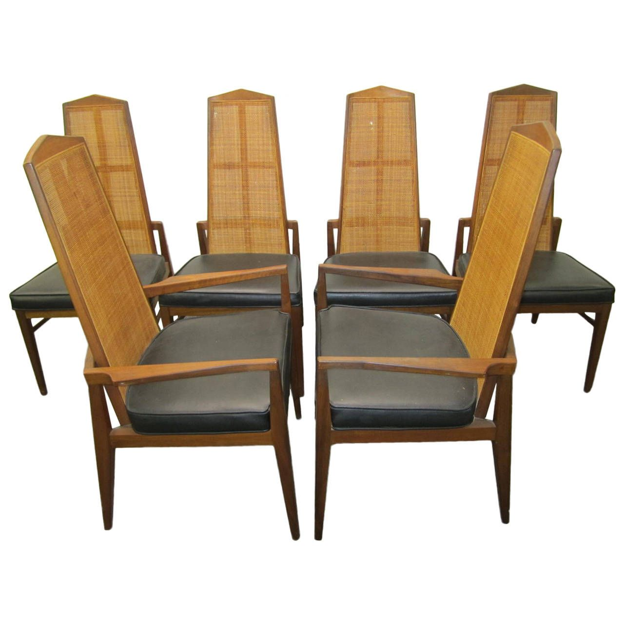 six walnut foster and mcdavid cane back dining chairs, mid-century