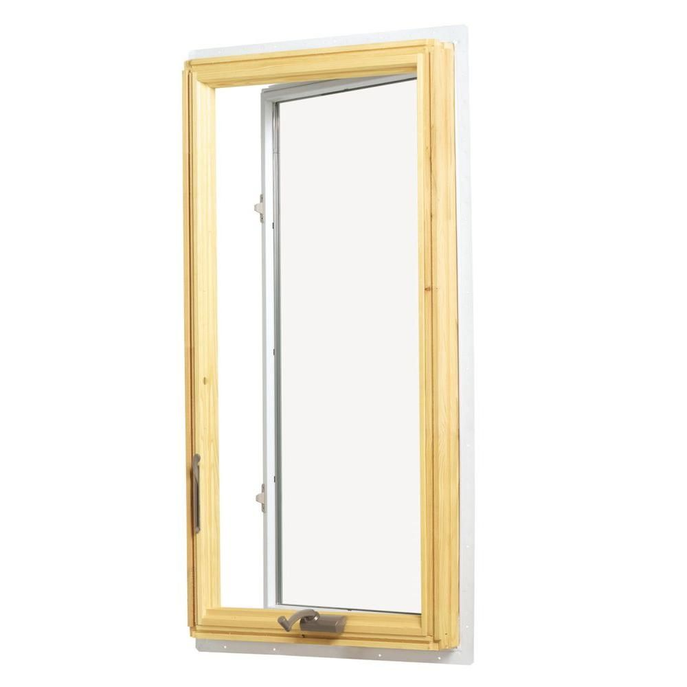 Andersen 28 375 In X 48 In 400 Series Casement Wood Window With White Exterior Left Hand Cw14 L The Home Depot Wood Windows Casement Casement Windows