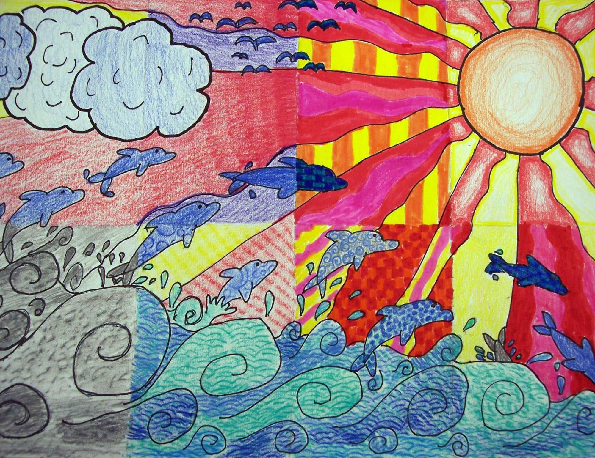 Principles Of Design Art Activities : Elements of art project th grade ms hs