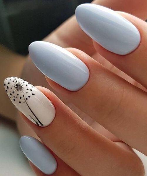 Delicioso diseño de uñas de primavera con flores negras – moda femenina