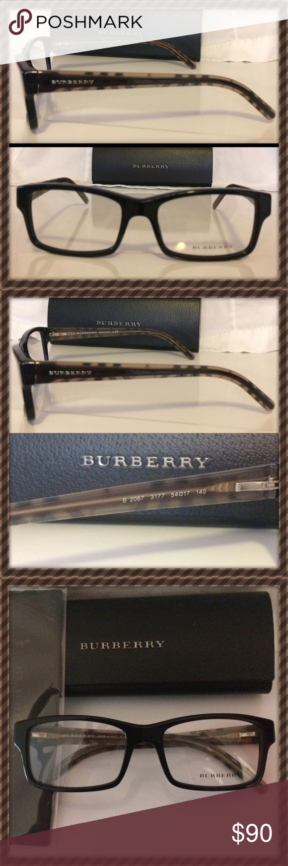 Authentic Burberry B2067 Men's Designer glasses Men's designer Burberry glasses/sunglasses new unused with case and cloth . Black with tan Burberry  trademark design on each arm. Burberry Accessories Glasses