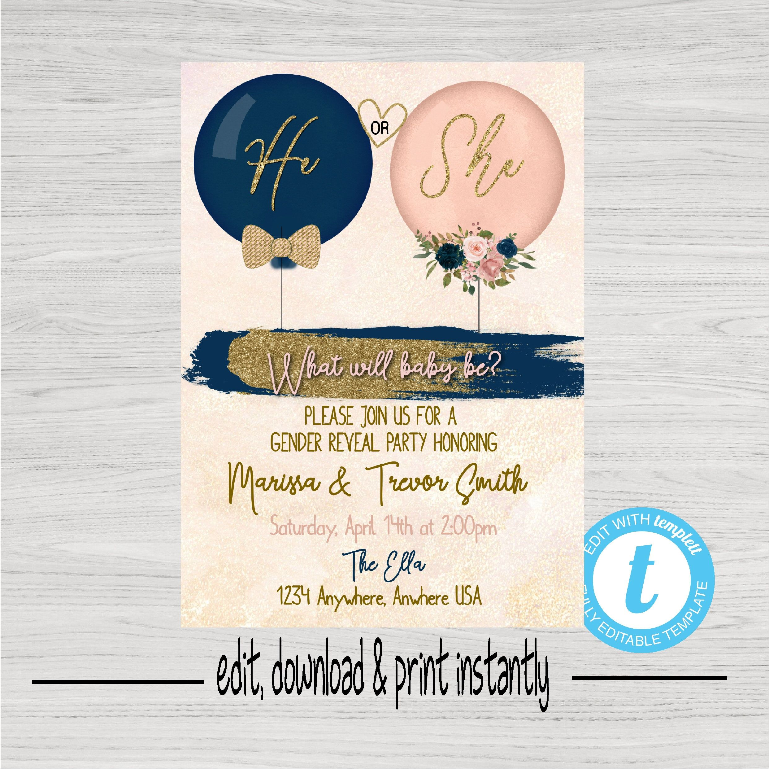 Gender Reveal Invitation Balloon Gender Reveal Blush Pink Navy Invite He Or She What Will Baby Be Baby Gender Reveal Instant Download In 2021 Gender Reveal Invitations Gender Reveal Balloons Gender