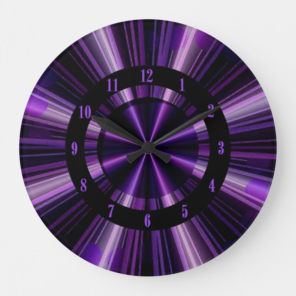 Purple Rays Of Light Wall Clock Zazzle Com In 2020 Purple Clock Wall Clock Light Purple Decor