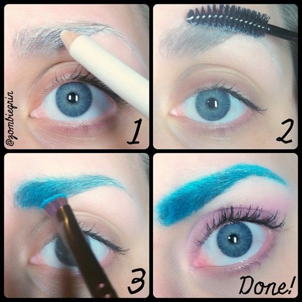 Colored eyebrow tutorial--no glue or wax (just white eyeliner ...
