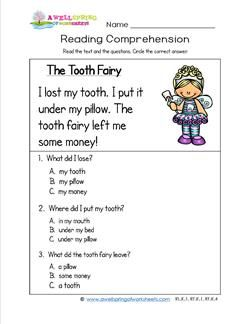 Kindergarten Reading Comprehension - The Tooth Fairy | a | Reading ...