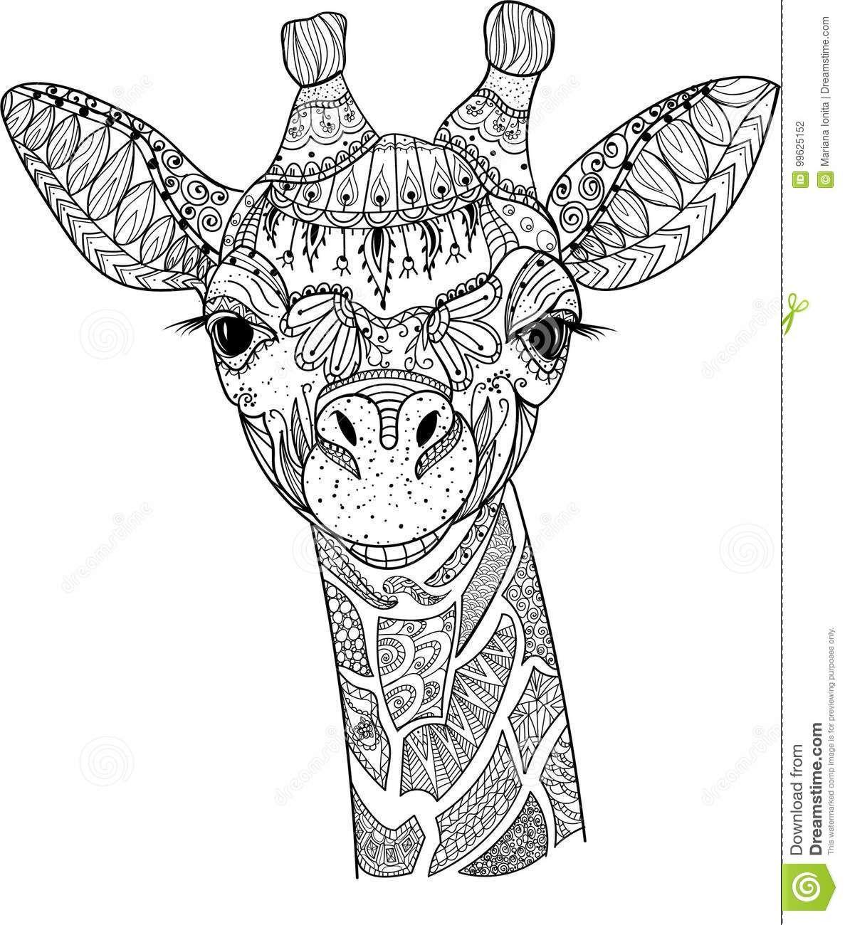 Zentangle giraffe stock vector. Illustration of decoration