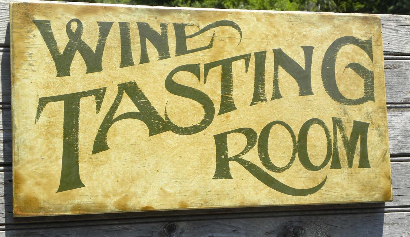 Wine Tasting Room Sign Wooden Winery Hand Painted