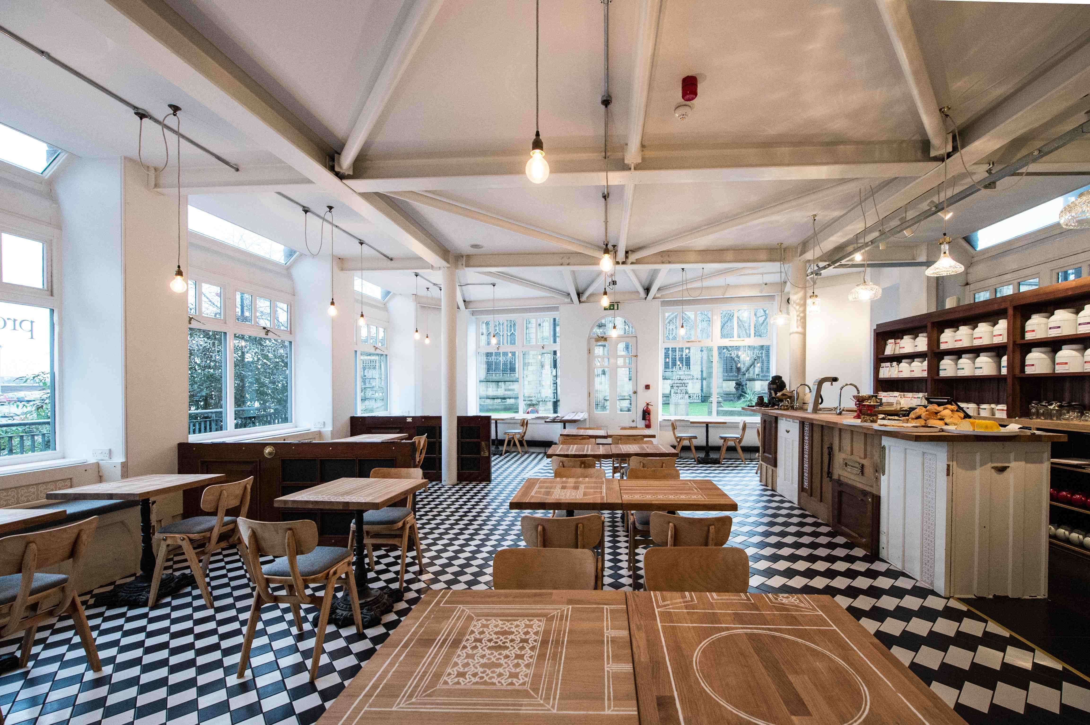Proper Tea – Manchester Cathedral, Visitors Centre,10 Cateaton Street, Manchester, M3 1SQ. This quirky English tearoom offers a serene spot in the old heart of the city. Try their selection of loose-leaf teas and amazing cakes.