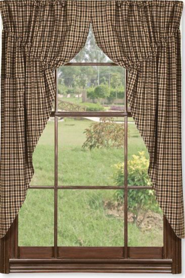 Black and tan prairie curtain primitive country window for 1940s window treatments