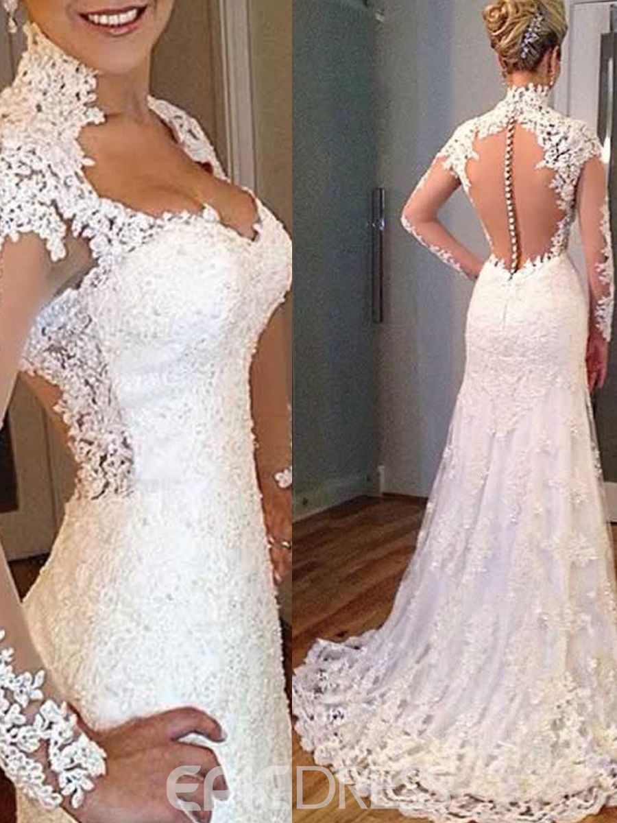 Charming v neck appliques open back wedding dress with sleeves