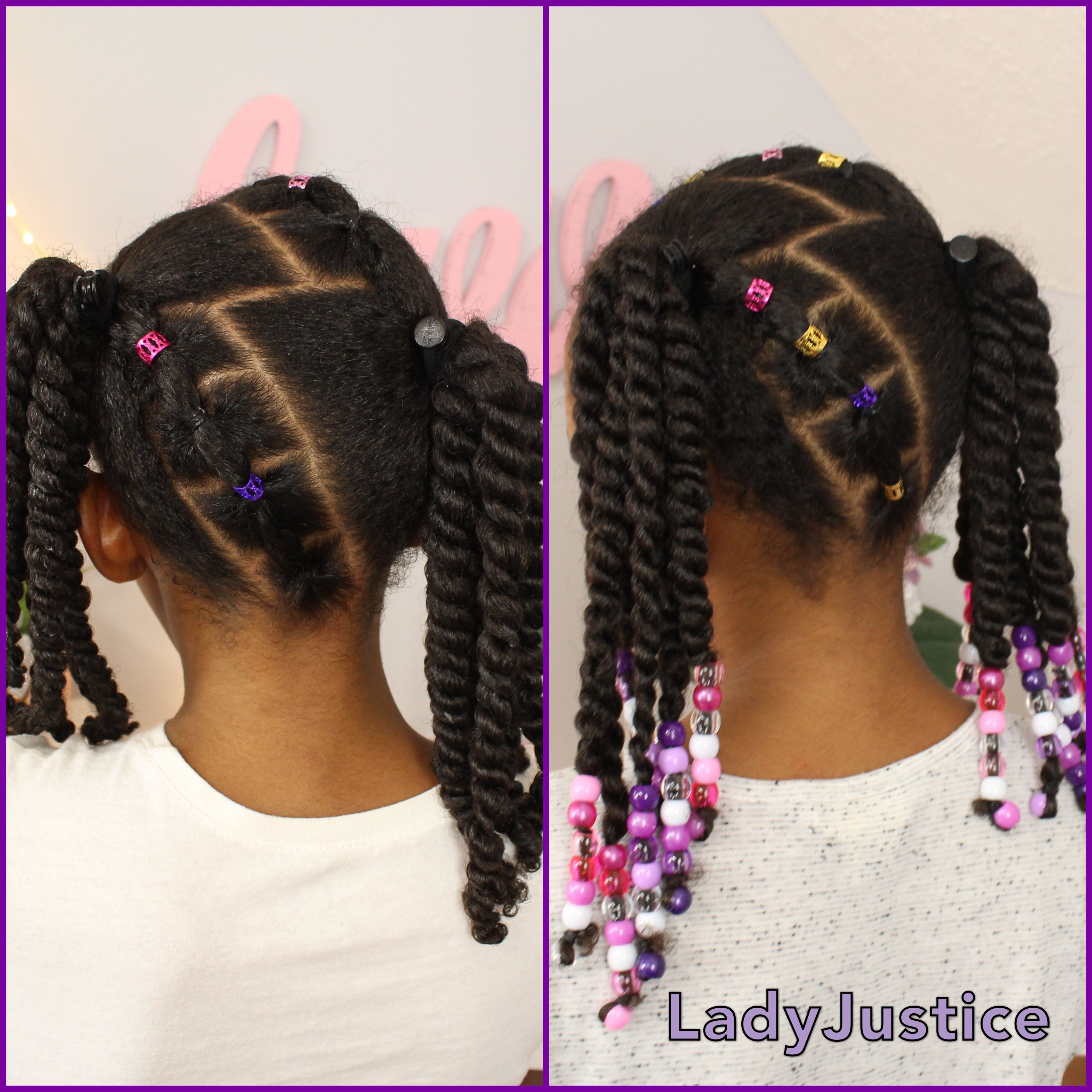 2 ponytails and 2 strand twists full tutorial linked | girls