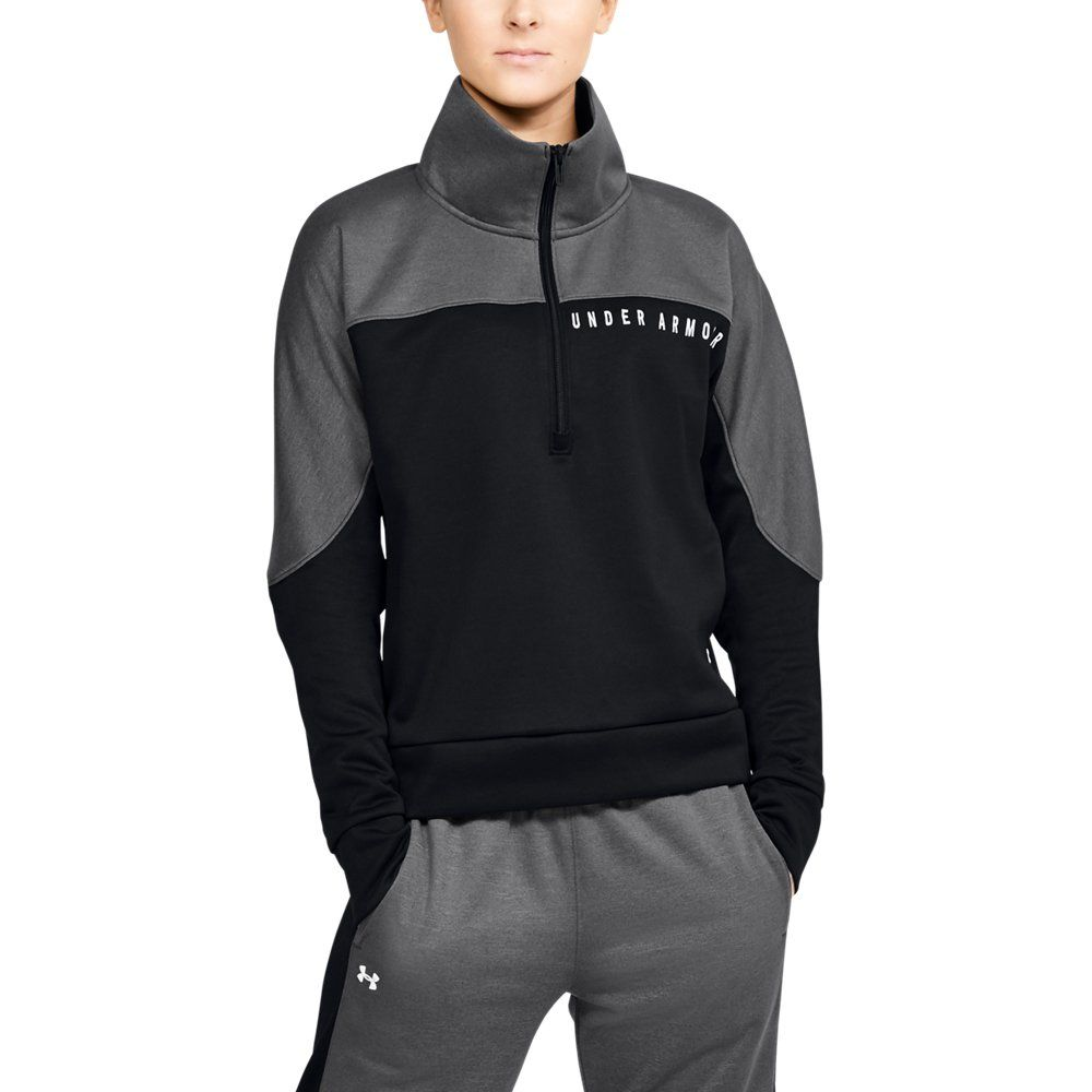 Photo of Under Armour Womens RECOVER Knit ½ Zip – Black LG