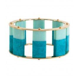 Lele Sadoughi Tall Stackable Bangle - Turquoise Bracelet - ShopBAZAAR