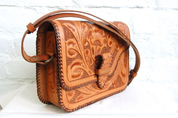 Vintage Mexican Leather Purse Tooled Leather Hand Bag Adjustable Strap Pocket Book Western
