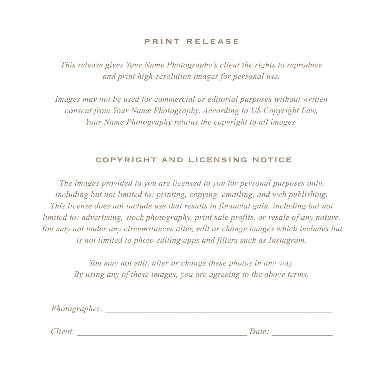 Photographer Print Release Form Photographers Creative and Printing