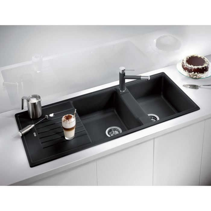 Composite Granite Blanco Zia 210 Double Bowl Sink Black With