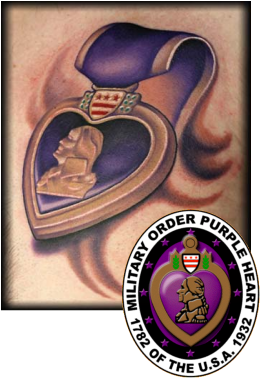 Would Love To Get One To Honor My Dad This Is One Of The Better Purple Heart Tattoos I Have Seen Purple Heart Tattoos Purple Heart Medal Heart Tattoo