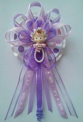 Lavender Baby Face Rattle Baby Shower Corsage Baby Shower