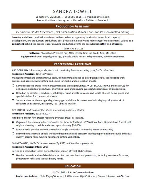 Production Assistant Resume Sample Assistant Jobs Resume No Experience Resume