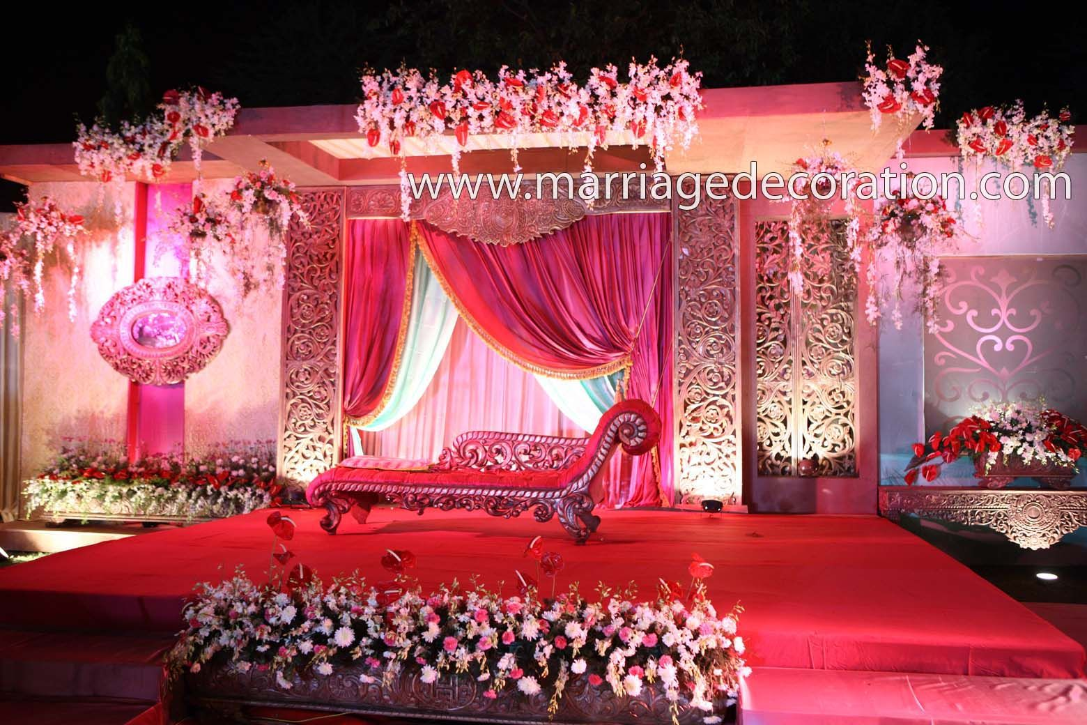 Best fabric ceiling swags decoration pictures halls mandapam flower reception stage www Latest decoration ideas