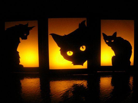 Black Cat Halloween Luminaries - Set of 3 - Party Decorations - halloween decorations black cat