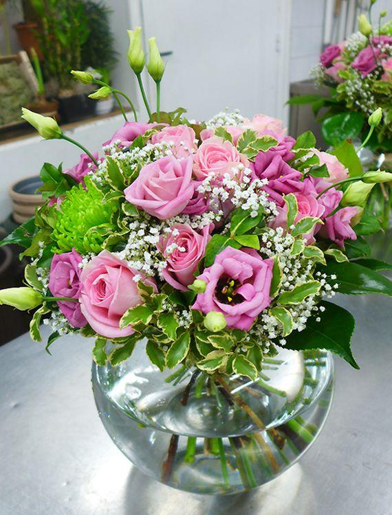 Superbe Composition Aux Tons Roses Et Verts Par Aquarelle Com