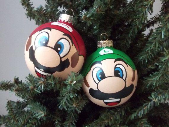 Super Mario Luigi Hand Painted Christmas Ornament by GingerPots, $32.00 - Super Mario Luigi Hand Painted Christmas Ornament By GingerPots